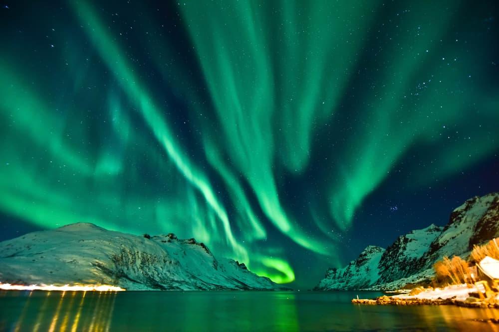 Oslo, Norveç Aurora Kuzey Işıkları