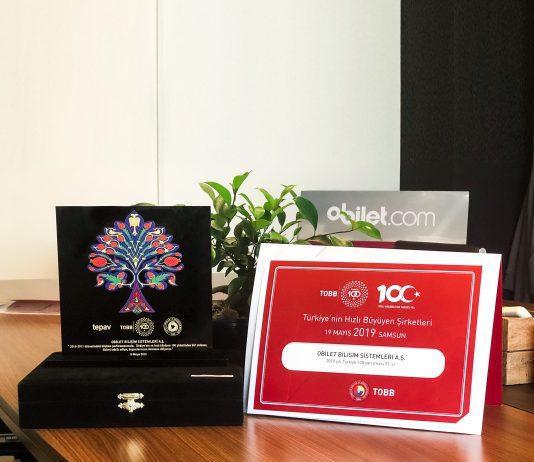 """obilet.com """"İlk 100'e Giren Şirketler"""" Ödülü"""