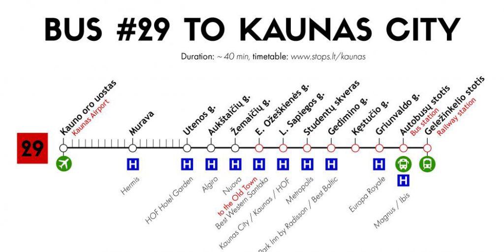 29 numaralı otobüs rotası Kaunas, Litvanya