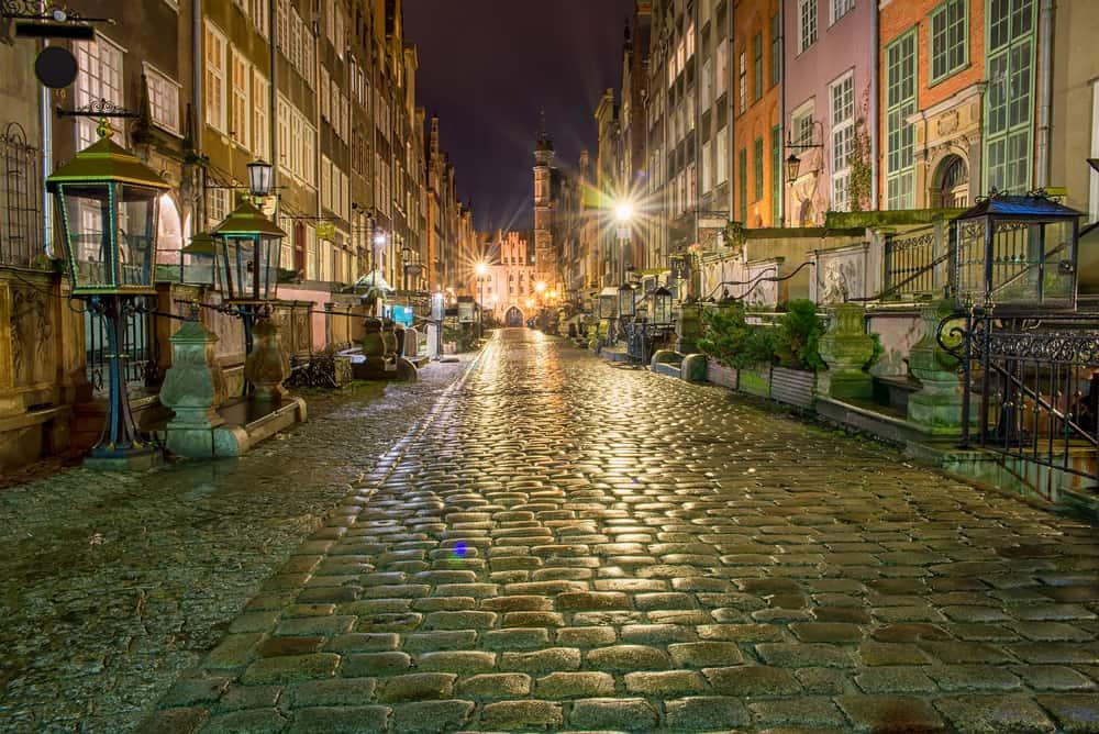 Gdansk Sokakları Gece