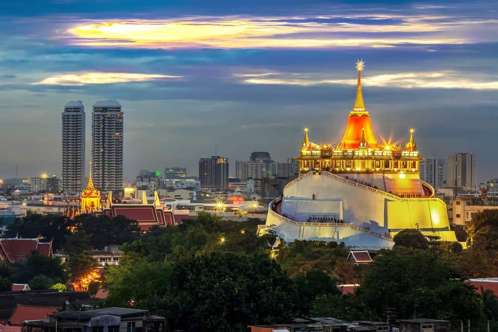Wat Saket Tapınağı Altın Dağ Bangkok Tayland