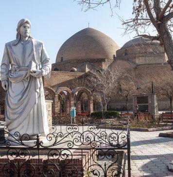Afzaladdin Bedel Khagani Heykeli ve Gök Mescit , Tebriz, İran