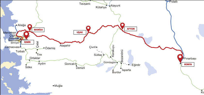 Konya Mavi Tren Güzergah